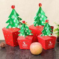 Árbol de Navidad 3D DIY Caja de regalo con Bell Cookies alimentos cajas de papel Feliz Navidad Decoración de papel la caja del caramelo de Apple Embalaje XD22440