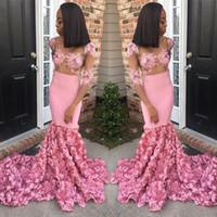 2019 Nouveau design rose sirène Robes de bal Appliqued Sheer cou Robes formelles élégantes robes du soir Tenue de soirée
