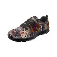 Sneaker de chaussures de basseaux plats personnalisables personnalisables personnalisables à fond noir peinture à l'huile de peinture d'art d'art classique chaussures en plein air