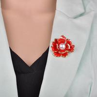 New Fashion Rouge Pivoine fleur émail femmes métal Épingle Simulé Perle fête élégante fleur de mariage Banquet B418