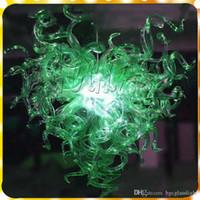 Forma moderna de cristal verde quente moderno Murano lâmpada de suspensão de mão soprado Murano Art Led Vidro Candelabro Iluminação para sala de estar e quarto