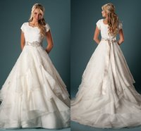 Modest Country Wedding Gown With Sleeves Ball Gown Ruffles Organza Lace With Sash Temple Wedding Dresses With Cap Sleeves