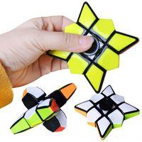 Magic Cube Finger Spinner Fidget 큐브 Spinning EDC 방지 스트레스 회전 회전 스피너 압축 해제 소년 어린이를위한 참신 장난감 6.8 x 2.0cm