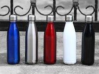 DHL 17oz الكهربائي الفولاذ المقاوم للصدأ زجاجة ماء شكل الكولا مع غطاء مع شعار الأزياء الرياضية مزدوجة الجدار فراغ معزول الكأس