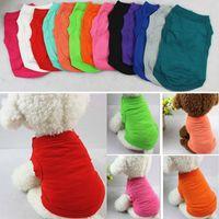 الحيوانات الأليفة القمصان الصيف الصلبة الكلب الملابس أزياء الأعلى القمصان سترة الملابس القطنية الكلب جرو الملابس الصغيرة الرخيصة الحيوانات الأليفة ملابس 13 لون WX9-932