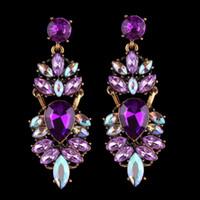 Monili di cerimonia nuziale Dichiarazione di cristallo delle donne degli orecchini viola strass goccia ciondola gli orecchini del partito Femme Bijoux Barocca