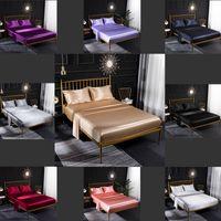 디자이너 이불 침대 커버 Extra 대형 고급 침구 세트 4 피스 세트 홈 타일 공급 유럽 및 미국 얼음 실크 새틴 색상