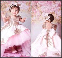2019 Pink Ball Gown Princess Baby Girl Flower Girls Abiti per matrimoni Sweep treno paillettes bambini usura formale carino prima comunione Dress