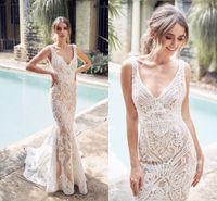 2019 bohemia playa vestido de novia Champagne sirena del cordón atractivo de Boho del cuello en V de Bohemia vestido de novia por encargo