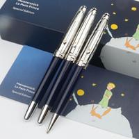 Luxo melhor qualidade azul e prata laca gravada fox raposa le petit príncipe rollerball / caneta esferográfica para presente