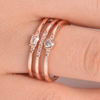 European Wind New Pattern I più venduti Personalità della moda Linea tre Zirconio Una donna con un anello di persona Trendsetter
