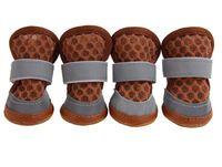 Sapatos 10sets grosso cão verão com dois Reflective Fixação Strap e resistente Anti-Slip Sole cão botas coloridas Pet Sapatas macias