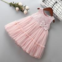 3-7 лет Высокое качество девушка платье 2019 новая летняя мода лук цветок малыш дети девушка одежда вечернее платье принцессы