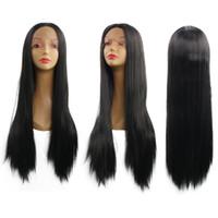 Perruques Lace Front femme noire longue perruques droite perruque de cheveux synthétiques à haute température Résistance fibre Livraison gratuite