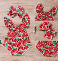 신생아 유아 아기 소녀 비행 슬리브 Romper Bodysuit 헤어 랩 머리띠 여름 수박 인쇄 Jumpsuit 원피스 옷을 등반 D62808