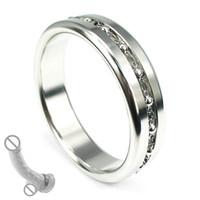 Acciaio inossidabile Cock Ring con anello bangdage pizzo pene catena scroto ritardo di espulsione per il giocattolo del sesso degli uomini