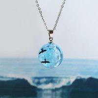 قلادة القلائد الإبداعية الأزرق جولة الكرة قلادة المرأة بسيطة iss السماء الغيوم الطيور سلسلة فضية حزب مجوهرات هدية كولير