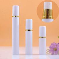 5ml 10ML 15ML Mini White Airless Spray Bottle anello di oro portatile Vacuum Pump atomizzatore Bottiglia fine della foschia del profumo della bottiglia dello spruzzo del contenitore