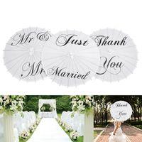 Obrigado Papel Livro Branco Umbrella Sr Sra Just Married Wedding Umbrella dama de honra do casamento nupcial Parasol