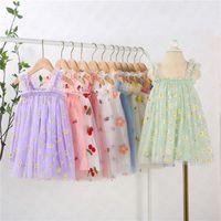 خصوصيات الطفل بنات التطريز الأزهار المطبوعة ثوب شاش أكمام زلة اللباس الصيفي للأطفال فساتين الأميرة ملابس الأطفال 80-130CM D61805