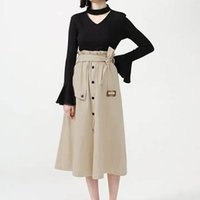 Summer Women's Fashion Solid Maxi Skirt Casual High waist single-breasted split skirt women's long section a G0528#20