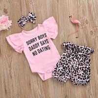 Baby Designer Vêtements Ensembles Rompers Nouveau Né Baby Marque Lettre Imprimer Roppers + Short léopard + Accessoires de cheveux Enfants Morceaux