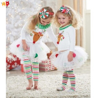 good quality Cute Deer Christmas Girls Clothes Sets T- shirts...
