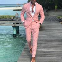 Cappotto di moda Pantaloni Summer Beach Men Tute Suits rosa per la palla di nozze Slim fit Groom smokings miglior uomo maschile vestito 2 pezzi (giacca + pantalone)