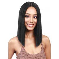Naturalne miękkie krótkie proste bob czarny brązowy blondynka kolor koronki syntetycznej koronki przodu peruka bezsporne odporne na ciepło włókien włosy peruki czarne kobiety