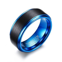 Fashion 8mm Black Mens Band Blue Plating Stainless steel Wed...
