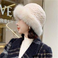 Женская Элегантный Winter Real шерсти кролика ТРИКОТАЖНОЙ шапочку Earmuffs W Real Fox Fur Брим Cap