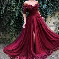 Sexy Off Shoulder Wine Red Evening Dresses 2019 Half Sleeve ...