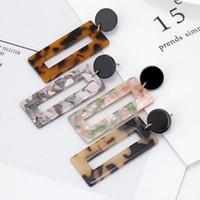 Tortoise ciondola gli orecchini 4 colori di stampa leopardo acrilico acido acetico Sheet geometrica Piazza lunghi orecchini di goccia per le donne ragazze gioielli
