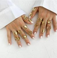 Hollow A-Z letra color dorado metal anillo de apertura ajustable iniciales nombre alfabeto femenino fiesta personalizado fiesta joyería shu32