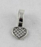 200PCs tibetansk silver hjärta lim på borgen charms hängsmycke för europeiska mode män kvinnor smycken halsband armband örhängen tillbehör
