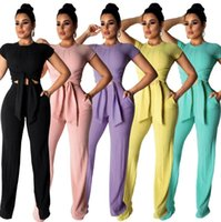 Women Tracksuit Short Sleeve Shirt Wide Leg Pants Crop Tops ...