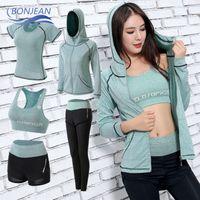 Yoga Kıyafetler Bonjean Kadınlar Set Gym Fitness Giysileri Tenis Gömlek + Pantolon Koşu Sıkı Koşu Egzersiz Tayt Spor Suit Artı Boyutu