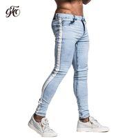 Gingtto узкие джинсы для мужчин ленты дизайнер проблемных стрейч джинсы Марка синий узкие джинсы разорвал Slim Fit лодыжки плотно zm33