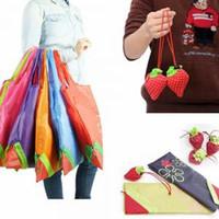 Återanvändbar jordgubbs shoppingväska blommig tote eko stor kapacitet bärbar vikbar livsmedelsbutik handväska vegetabilisk solid tote aaa1731