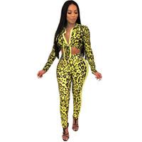 Conjuntos de verano de las muchachas del leopardo 2pcs pantalones Serpentina atractivo de la solapa del cuello de las señoras 2pcs arco palos largos moda para mujer de la manga