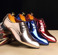 Solid Color Pattern Patent Leather Shoes Pointed Toe Lace Up...