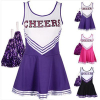 Les femmes Cheerleader Fancy Dress Sexy Girl Cheerleading Outfit Uniforme Halloween cosplay costume avec pompons XS-XXL 50sets / Lot