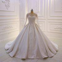 Nuevo diseño de vestidos nupciales de encaje Apliques de encaje Vestido de novia con vestido de manga larga Botón de bola Botón Atrás Sweep Train Custom