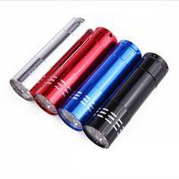 Mini 9 CREE LED linterna de luz UV Senderismo Mini UV Antorcha Aleación de aluminio Detección de dinero LED Luz de lámpara UV