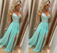 Дешевая линия плюс размер платья выпускного вечера Спагетти ремни V-шеи длинные шифоновые длинные кружевные аппликации формальные платья вечерние платья OgStuff
