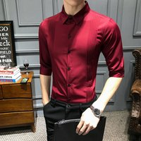 New Fashion Men' s Pure Color Casual Shirt Slim Fit Midd...