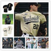 Vanderbilt Commodores 야구 NCAA CWS 화이트 골드 블랙 대학 저지 7 Swanson 2 해리슨 레이 80 로커 13 Buhler 14 가격