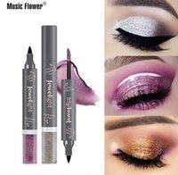Музыка цветов с двойной головкой Shimmer Liquid Eyeliner Pearl Liquid Eye Shadow Водонепроницаемая 3мл + 4.8g