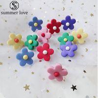 Jóias brincos de girassol Feminino Polymer flor da argila Flor pequena Moda brincos cores doces para Mulheres Meninas do presente Atacado-Z