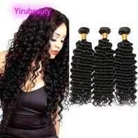 Pelo virginal humano peruano 10 piezas / lote Onda profunda Extensiones de cabello rizado 10 paquetes al por mayor Doble trama color natural 1b